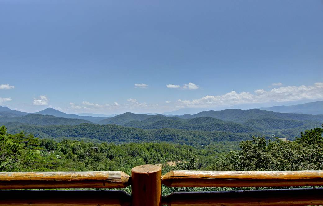 SUMMER VIEW FROM DECK at MAJESTIC ESCAPE in Sevier County TN