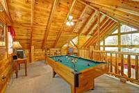 POOL TABLE IN LOFT at ALMOST PARADISE in Sevier County TN