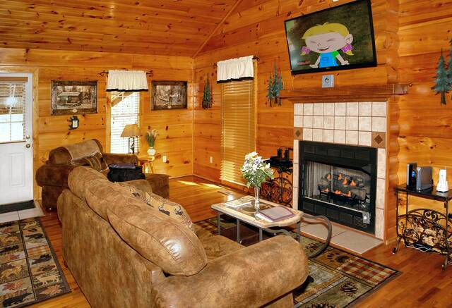 Gatlinburg Cabin Rentals_Tranquility_living area with gas fireplace