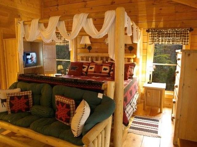 King size log canopy bed