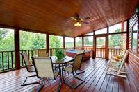 DINING ON SCREENED IN DECK at BIG BEAR LODGE in Sevier County TN