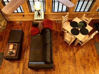 Sofa, two ottomans and dining table for 4 guests