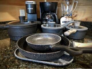High quality cookware and small appliances in the kitchen