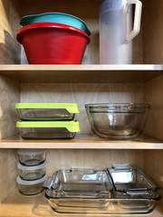 Glass bakeware, food storage dishes, mixing bowls--glass and plastic