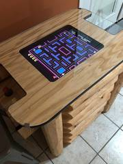Video game table with 70s and 80s era games for one or two players