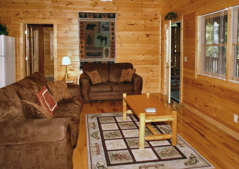 honey bear hideaway cabin living room
