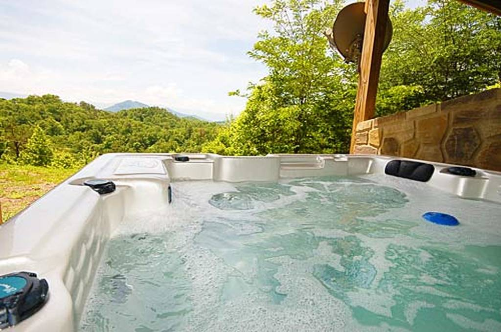 Enjoy the View from the Large Hot Tub