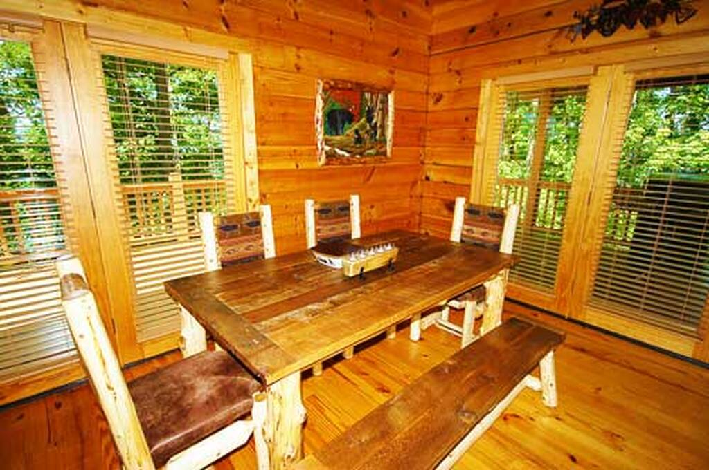 Custom log kitchen table