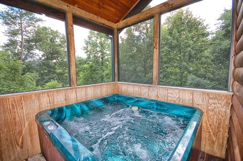 Hot Tub in Screened in Deck