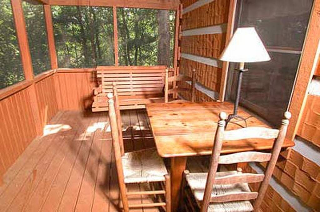 Porch swing in Screened in Deck