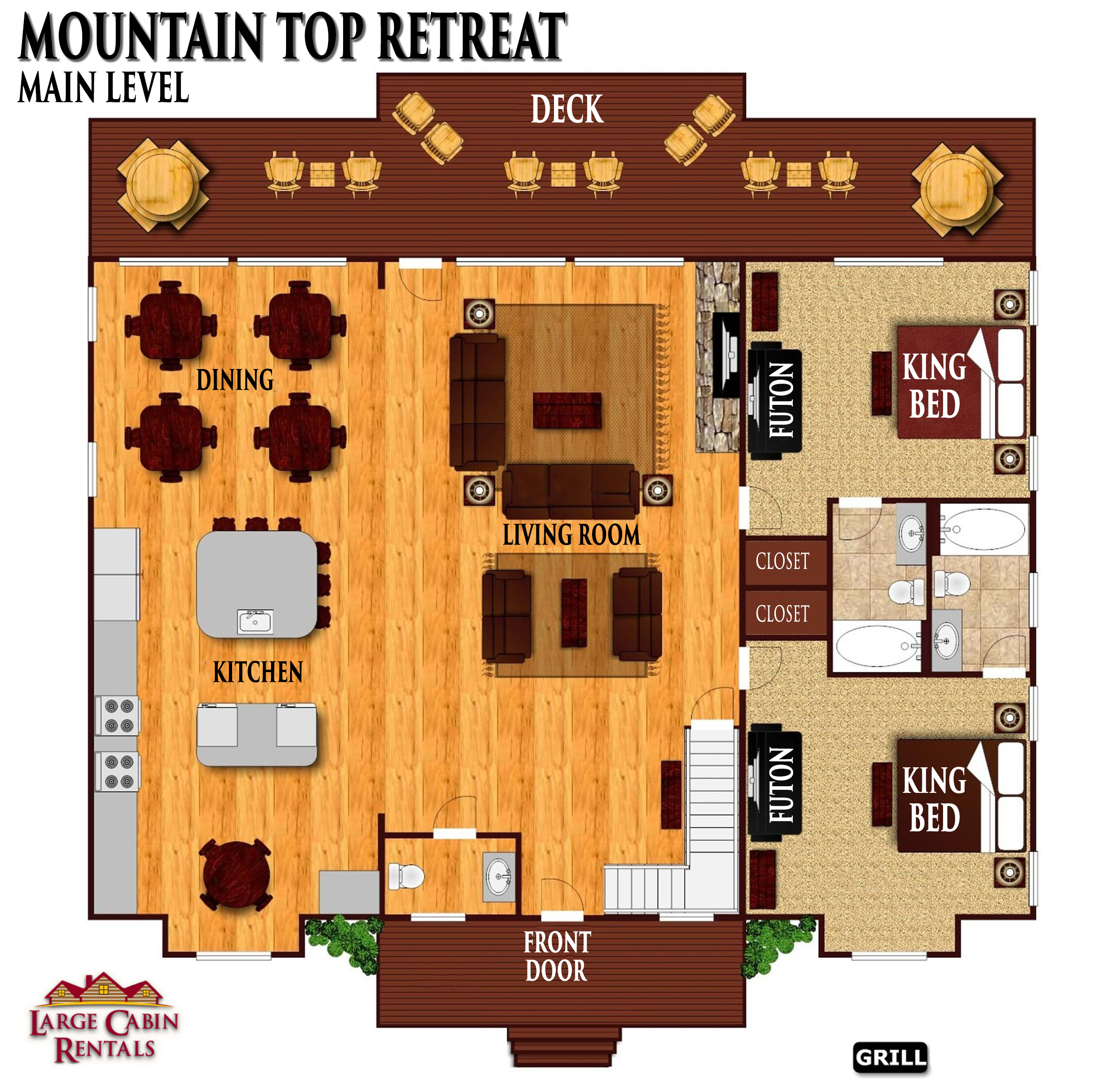 8 Bedroom Sleeps 40 MOUNTAIN TOP RETREAT by Large Cabin Rentals