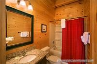 Spacious en-suite bathroom in A View For All Seasons cabin near Gatlinburg