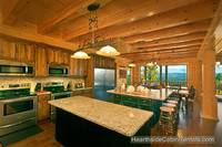 Double kitchen and dining area inside A View For All Seasons cabin near Gatlinburg