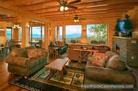 Open floor plan living room at A View For All Seasons cabin near Gatlinburg