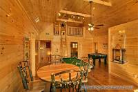 Game room and secluded loft area at A View For All Seasons cabin near Gatlinburg