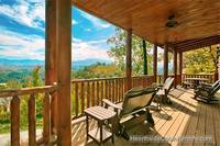 Cabin near Gatlinburg with covered deck and mountain view A View For All Seasons