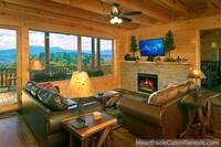 Living room at A Grand View Lodge cabin in Pigeon Forge