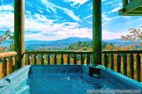 Grand View Lodge cabin in Pigeon Forge with outdoor hot tub and mountain view