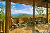 Pigeon Forge cabin with covered deck and chairs
