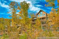 Outside view through trees of Grand View Lodge cabin in Pigeon Forge