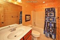 Private bath inside Morning View Manor cabin in Pigeon Forge