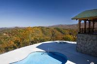 Resort-style outdoor pool and hot tub at Morning View Cabin in Wears Valley