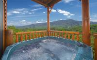 Outdoor hot tub at Majestic View Lodge cabin near Pigeon Forge and Gatlinburg