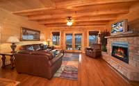 Comfortable living room at Majestic View Lodge cabin near Pigeon Forge and Gatlinburg