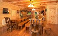Family-style dining room at Majestic View Lodge cabin in Pigeon Forge