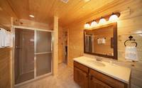 Private bath inside 8 bedroom cabin in Pigeon Forge Cades Cove Castle