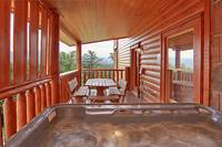 Private hot tub at Heavenly Heights 8 bedroom large Pigeon Forge cabin rental