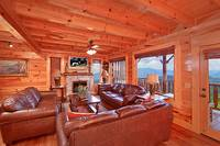 Large living room area at Heavenly Heights 8 bedroom large Pigeon Forge cabin rental