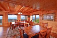 Large dining room area at Heavenly Heights 8 bedroom large Pigeon Forge cabin rental