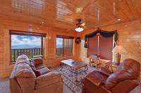 Sitting area inside the 8 bedroom Wears Valley cabin rental Heavenly Heights