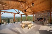 Outdoor pavillion and picnic area at The Preserve Resort overlooking the mountains