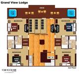 Floor plan of the second floor of Grand View Lodge cabin in Pigeon Forge