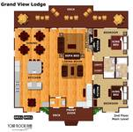 Floor plan of the first floor of Grand View Lodge cabin in Pigeon Forge