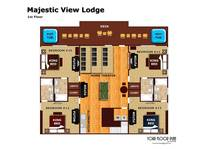 Floor plan of the first level of Majestic View Lodge cabin in Pigeon Forge