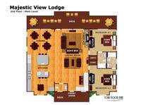 Floor plan of the second level of Majestic View Lodge cabin in Pigeon Forge