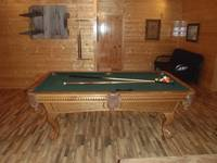 Full-size pool table at Majestic View Lodge cabin in Pigeon Forge