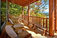 Large back deck at Majestic View Lodge with plenty of seating