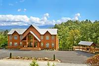 Wide angle shot of the 16 bedroom cabin in Pigeon Forge
