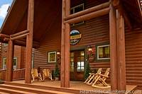 Close up view of the entrance to The Big Moose Lodge cabin in Pigeon Forge