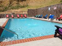 Close up shot of the seasonal outdoor pool at the Wildbriar Resort near Gatlinburg
