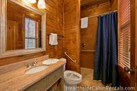 Handicap-accessible bathroom inside 8 bedroom cabin in Pigeon Forge.