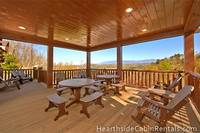 Private deck at Mountain Top Retreat cabin in Pigeon Forge.