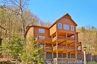 Side view of the 8 bedroom cabin in Pigeon Forge Mountain Top Retreat.