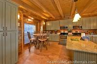 Large Pigeon Forge cabin with full kitchen and breakfast nook.