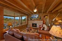 Open living room with mountain view inside Pigeon Forge cabin
