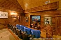 8 bedroom cabin in Pigeon Forge with home theater room Mountain Top Retreat.